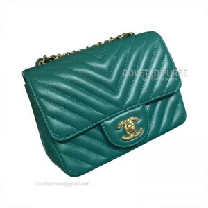Chanel Mini Flap Bag Emerald Green Lambskin Chevron With Gold HW