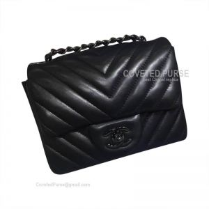 Chanel So Black Mini Flap Bag Lambskin Chevron With Black HW