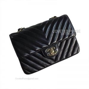 Chanel Mini Flap Bag Black Lambskin Chevron With Gold HW
