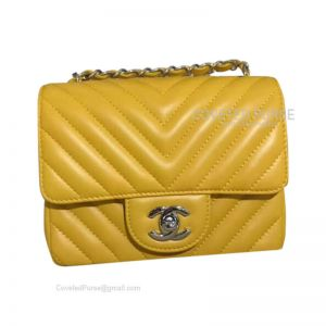 Chanel Mini Flap Bag Mango Yellow Lambskin Chevron With Silver HW