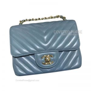 Chanel Mini Flap Bag Dream Blue Lambskin Chevron With Gold HW