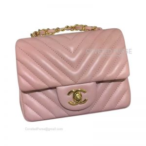 Chanel Mini Flap Bag Light Pink Lambskin Chevron With Gold HW