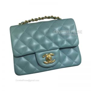 Chanel Mini Flap Bag Mint Green Lambskin With Gold HW