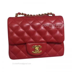 Chanel Mini Flap Bag Red Lambskin With Gold HW