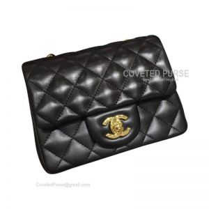 Chanel Mini Flap Bag Black Lambskin With Gold HW