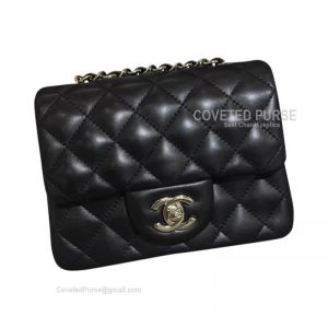 Chanel Mini Flap Bag Black Lambskin With Silver HW