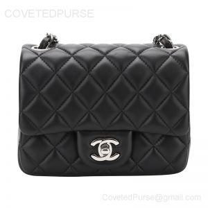 Chanel Mini Flap Bag Black Lambskin With Silver HW