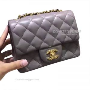 Chanel Mini Flap Bag Gray Lambskin With Gold HW