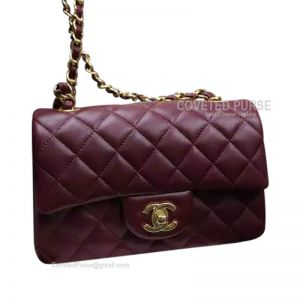 Chanel Mini Flap Bag Wine Lambskin With Gold HW