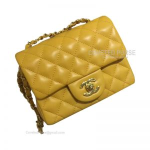 Chanel Mini Flap Bag Mango Yellow Lambskin With Gold HW