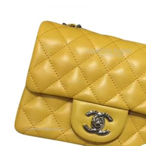 Chanel Mini Flap Bag Mango Yellow Lambskin With Silver HW