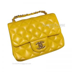 Chanel Mini Flap Bag Bright Yellow Lambskin With Gold HW