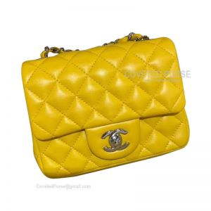 Chanel Mini Flap Bag Bright Yellow Lambskin With Silver HW