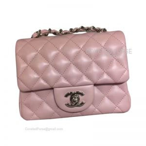 Chanel Mini Flap Bag Light Pink Lambskin With Silver HW