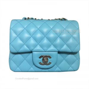 Chanel Mini Flap Bag Light Blue Lambskin With Silver HW