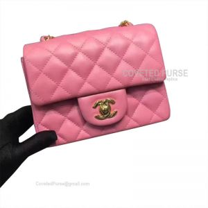 Chanel Mini Flap Bag Peach Pink Lambskin With Gold HW