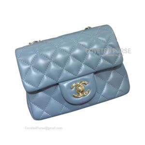 Chanel Mini Flap Bag Haze Blue Lambskin With Gold HW