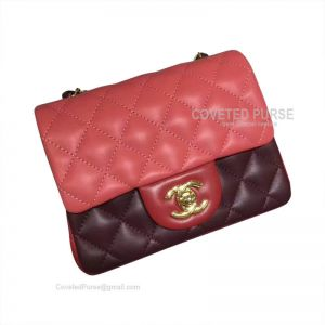 Chanel Mini Flap Bag Double Red Lambskin With Gold HW