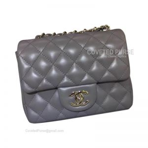 Chanel Mini Flap Bag Dark Gray Lambskin With Silver HW