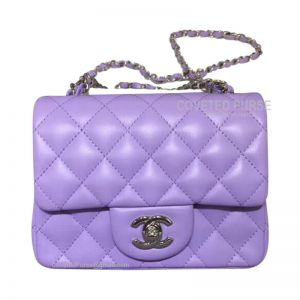 Chanel Mini Flap Bag Lavender Purple Lambskin With Silver HW
