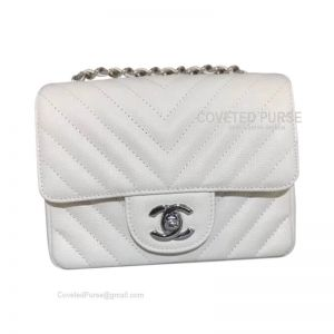 Chanel Mini Flap Bag White Caviar Chevron With Silver HW