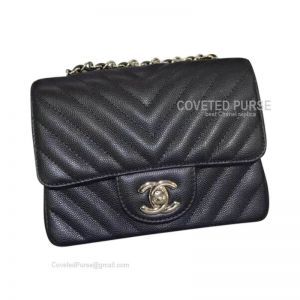 Chanel Mini Flap Bag Black Caviar Chevron With Silver HW