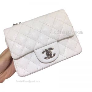 Chanel Mini Flap Bag White Caviar With Silver HW