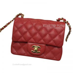 Chanel Mini Flap Bag Red Caviar With Gold HW