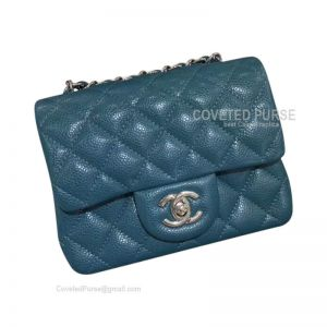 Chanel Mini Flap Bag Jade Blue Caviar With Silver HW