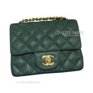 Chanel Mini Flap Bag Emerald Green Caviar With Gold HW