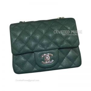Chanel Mini Flap Bag Emerald Green Caviar With Silver HW