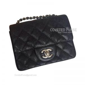Chanel Mini Flap Bag Black Caviar With Silver HW