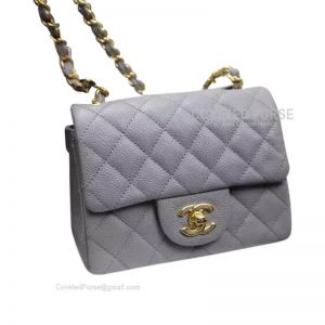 Chanel Mini Flap Bag Gray Caviar With Gold HW