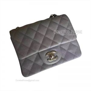 Chanel Mini Flap Bag Gray Caviar With Silver HW