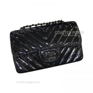 Chanel So Black Small Flap Bag Patent Chevron With Black HW