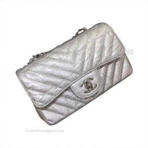 Chanel Small Flap Bag Patent Chevron In Metallic With Silver HW