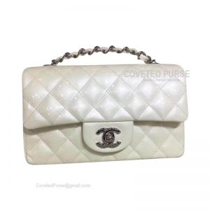 Chanel Small Flap Bag Patent In White With Silver HW