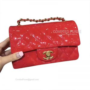 Chanel Small Flap Bag Patent In Red With Gold HW