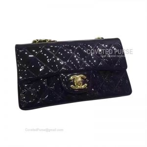 Chanel Small Flap Bag Patent In Navy Blue With Gold HW