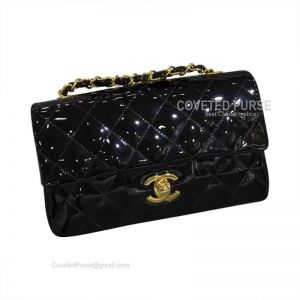 Chanel Small Flap Bag Patent In Black With Gold HW