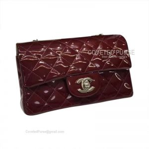 Chanel Small Flap Bag Patent In Wine With Silver HW