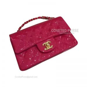 Chanel Small Flap Bag Patent In Rose With Gold HW