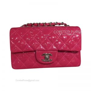 Chanel Small Flap Bag Patent In Rose With Silver HW