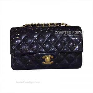 Chanel Small Flap Bag Patent In Starry Ash With Gold HW