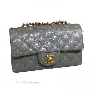 Chanel Small Flap Bag Patent In Gray With Gold HW