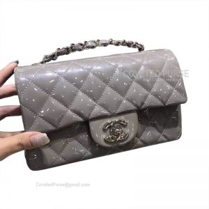 Chanel Small Flap Bag Patent In Gray With Silver HW