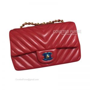 Chanel Small Flap Bag Red Lambskin Chevron With Gold HW