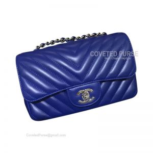 Chanel Small Flap Bag Electric Blue Lambskin Chevron With Silver HW