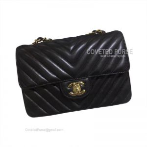 Chanel Small Flap Bag Black Lambskin Chevron With Gold HW