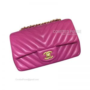 Chanel Small Flap Bag Rose Lambskin Chevron With Gold HW